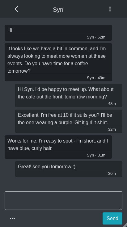 A screenshot of a conversation within the app.